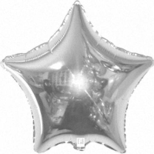 """Звезда фольгированная 18""""(45 см) серебро металлик"""