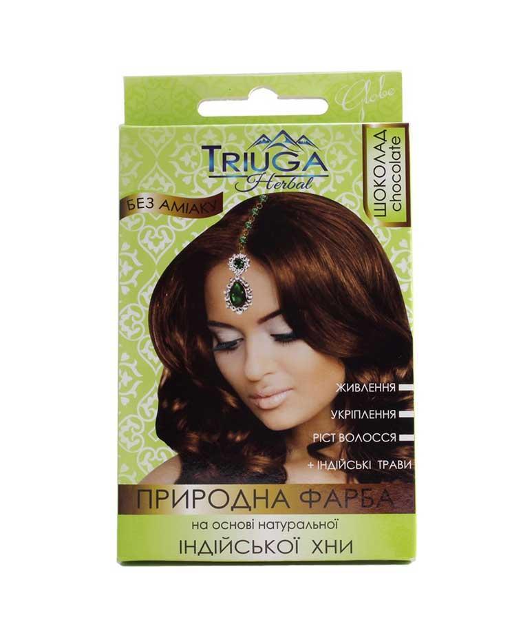 Краска натуральная для волос на основе хны 25 г Triuga Шоколад Триюга