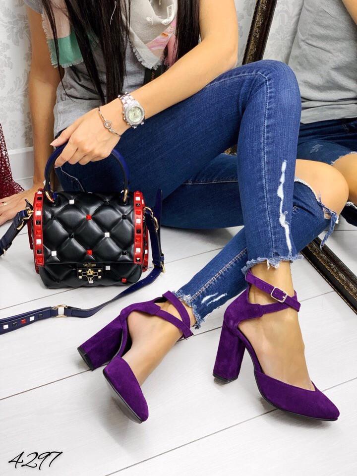 Туфли фиолет замш застежка переплёт натуральный замш В наличии и под заказ