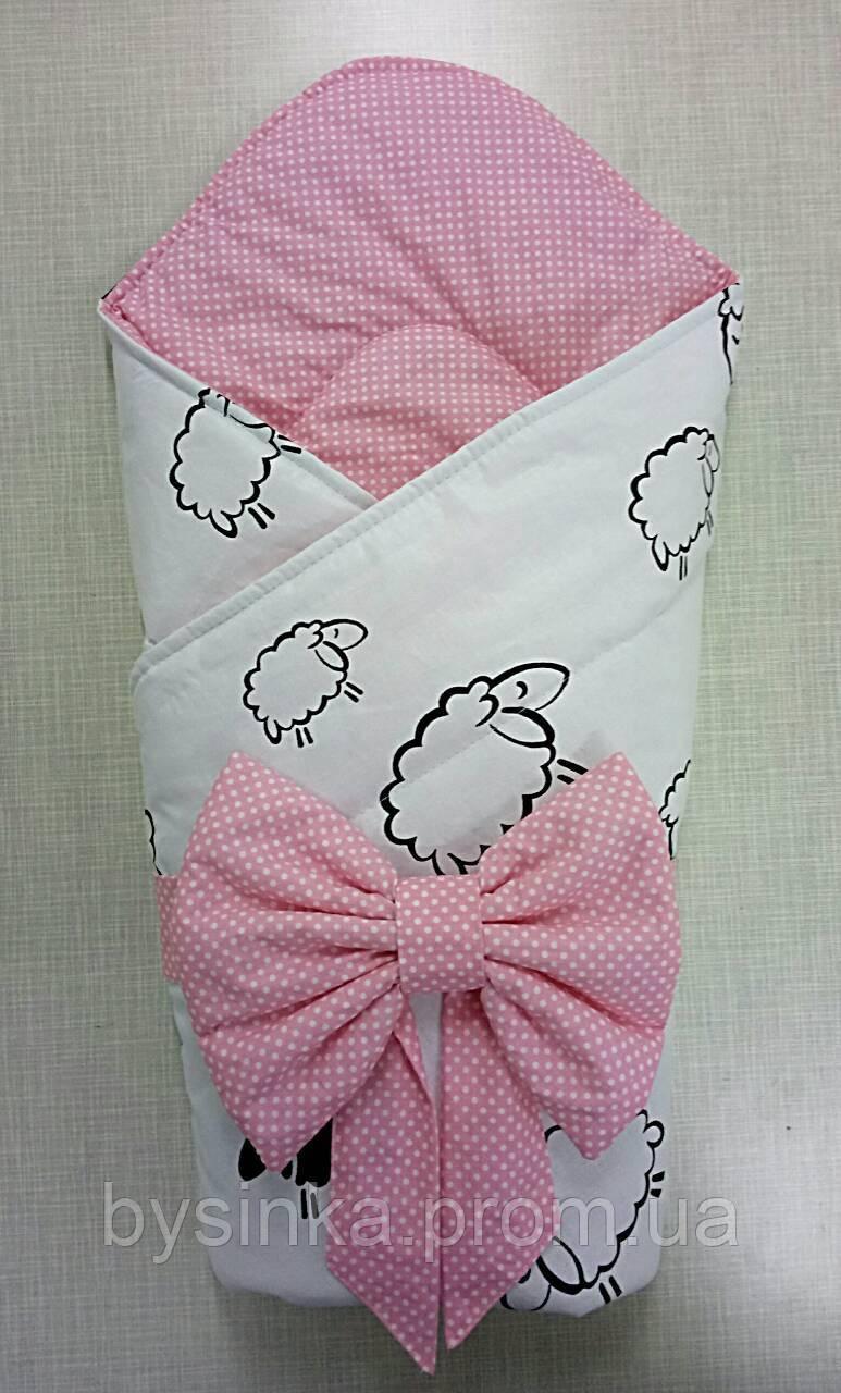 """Конверт-одеяло на выписку новорожденного, трансформер- """"Барашки"""