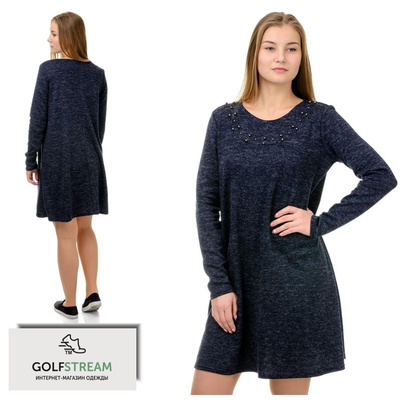 Свободное платье-трапеция (синий)