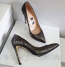 Женские серебристые лодочки из питона на высоком каблуке