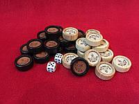 Набор деревянных фишек для нард с кожей, фото 1