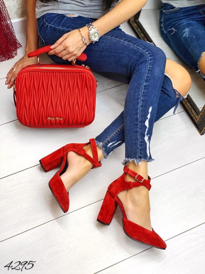 Туфли красный замш застежка переплёт натуральный замш В НАЛИЧИИ И ПОД ЗАКАЗ