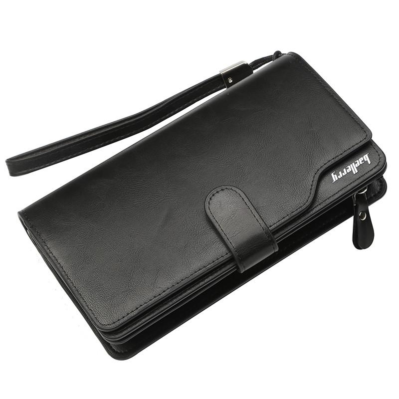 Мужской Кошелек Портмоне Baellerry Business New (S1062) для Карточек с Ремешком Черный