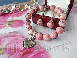 Комплект из розово-фиолетового агата с подвеской сердце