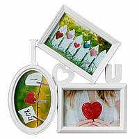 Фоторамка або рамка для фото, купити мультірамку колаж з фотографій на стіну Youngpig «I love You» 29х32х2 см. Біла (532)