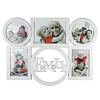Фоторамка або рамка для фото, купити мультірамку колаж з фотографій на стіну Youngpig «Family» 47.5х32.5х2 см біла (725)