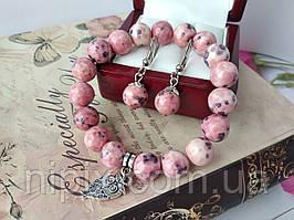 Комплект из розово-фиолетового агата - браслет и серьги