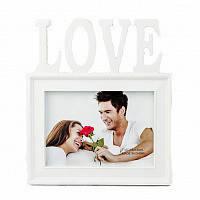 Фоторамка або рамка для фото, купити мультірамку колаж з фотографій на стіну Youngpig «Love» 21.5х24.5х2 см. Біла (693)