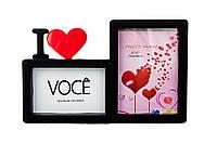 Фоторамка або рамка для фото, купити мультірамку колаж з фотографій на стіну с сердцем Youngpig 32х21х2 см. Чорна (692)