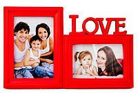 Фоторамка або рамка для фото, купити мультірамку колаж з фотографій на стіну Youngpig «Love» 20х35х2 см. Червона (701)