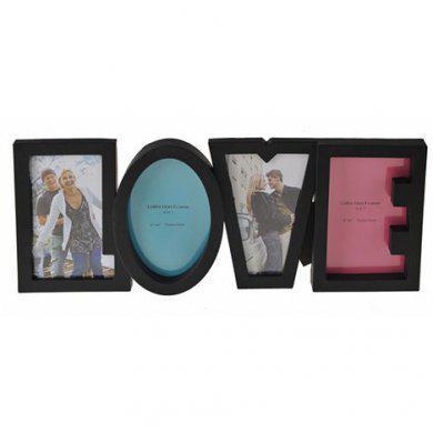 Фоторамка або рамка для фото, купити мультірамку колаж з фотографій на стіну Youngpig «LOVE» 40х17х2 см. Чорна (982)