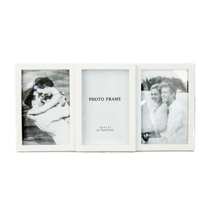 Фоторамка або рамка для фото, купити мультірамку колаж з фотографій на стіну Youngpig 34х16.5х2 см. Біла (709)