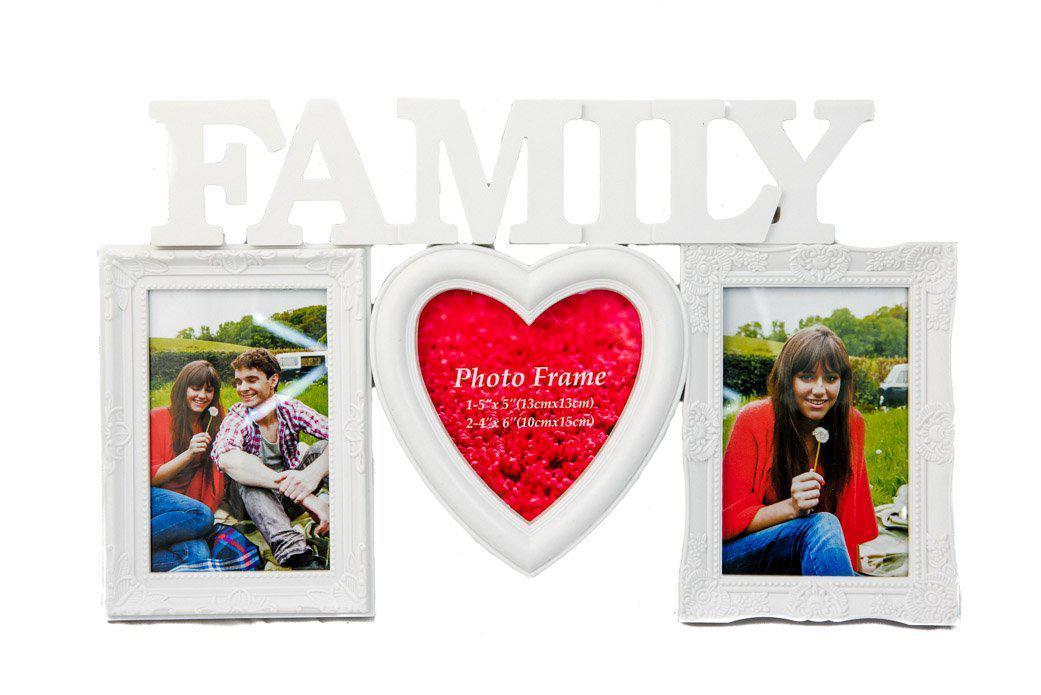 Фоторамка або рамка для фото, купити мультірамку колаж з фотографій на стіну Youngpig Family з сердцем 42х26х2 см. Біла (712)