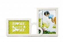 Фоторамка або рамка для фото, купити мультірамку колаж з фотографій на стіну з серцем Youngpig 21х36х2 см. Біла (719)