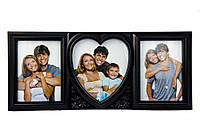 Фоторамка або рамка для фото, купити мультірамку колаж з фотографій на стіну з серцем Youngpig 50х22х2 см. Чорна (704)