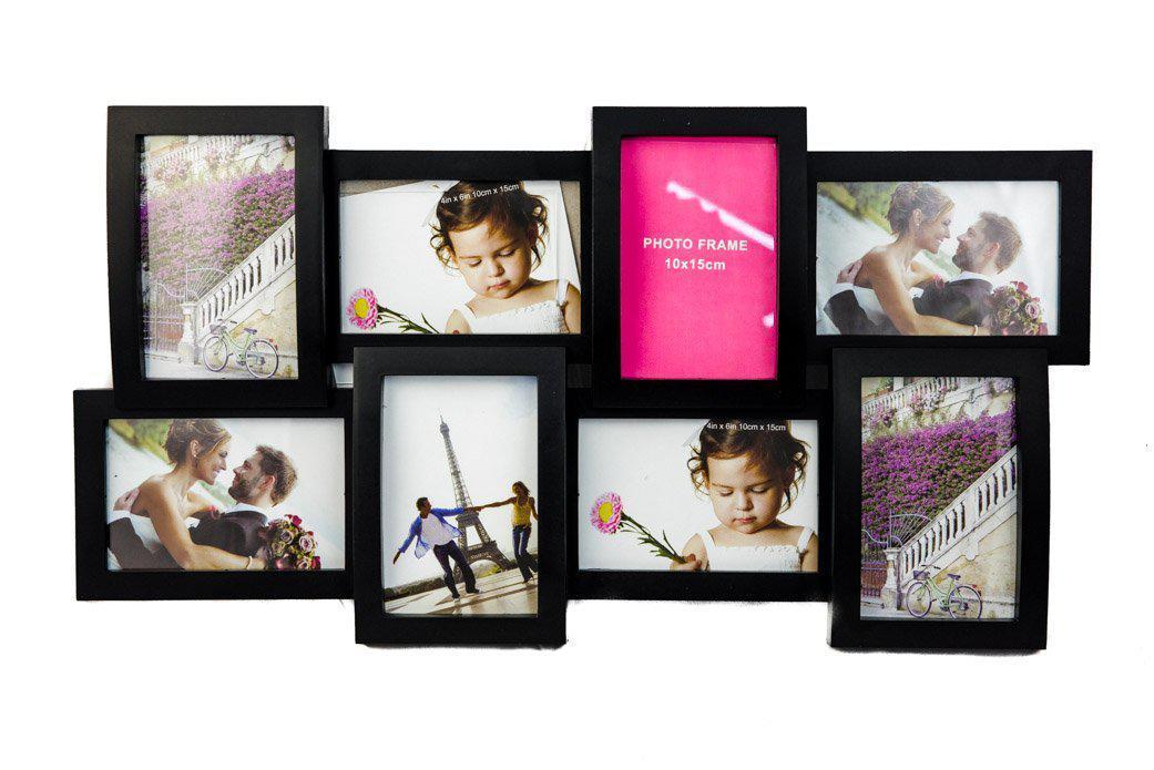 Фоторамка або рамка для фото, купити мультірамку колаж з фотографій на стіну Youngpig Коллаж 32х58х2 см. Чорна (729)
