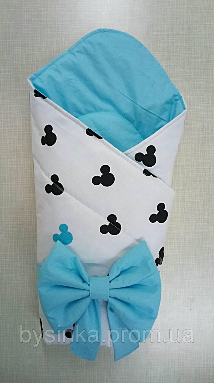 """Конверт-одеяло на выписку новорожденного, трансформер- """"Микки"""""""