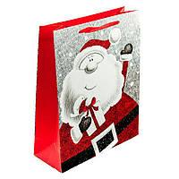 Подарунковий паперовий пакет, оригінальна упаковка для подарунка «Санта» гигант