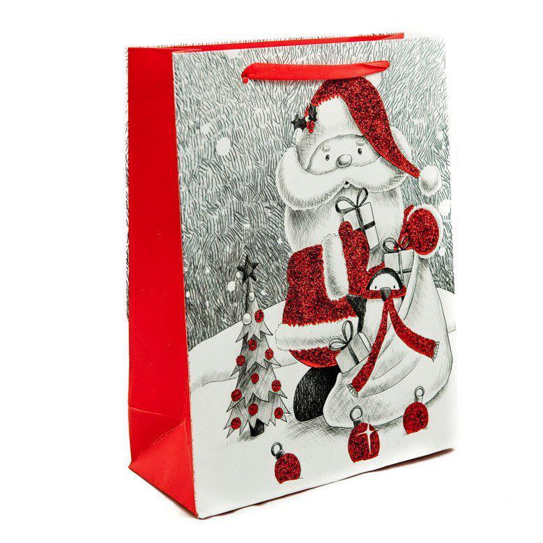 Подарунковий паперовий пакет, оригінальна упаковка для подарунка «Санта» большой