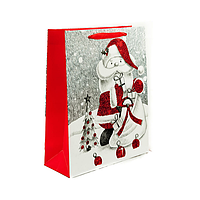 Подарунковий паперовий пакет, оригінальна упаковка для подарунка «Санта» малый