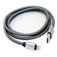 Тканинний USB шнур для iphone, АПЛ, купити кабель айфон «Аpple» графіт