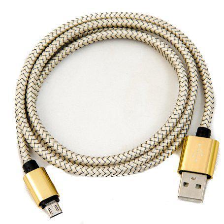Тканинний USB шнур «micro usb» золотий