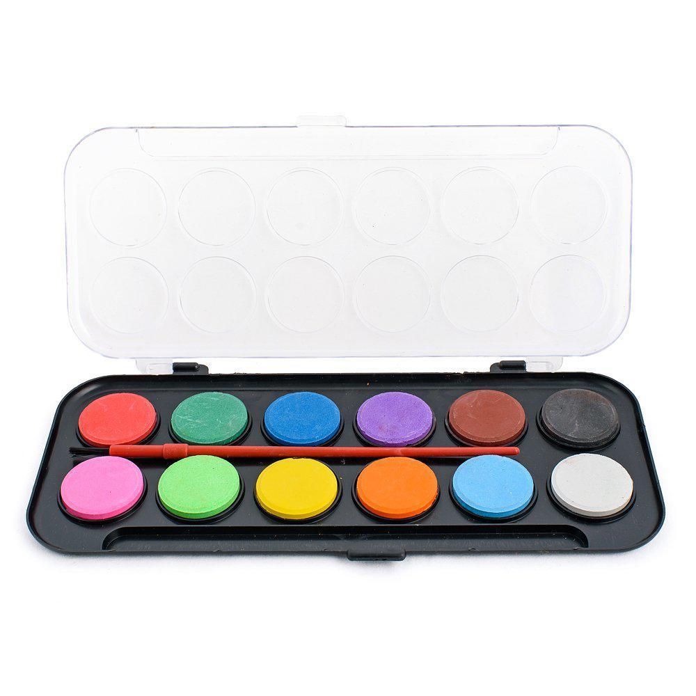 Фарби акварельні 12 кольорів в чорній пластиковій упаковці