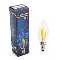 Лампа декоративна LED ЛАМПА FILAMENT BULB, 4W, ТЕПЛА СВІТЛО, E14, E14, Теплий (3000K), Свічка