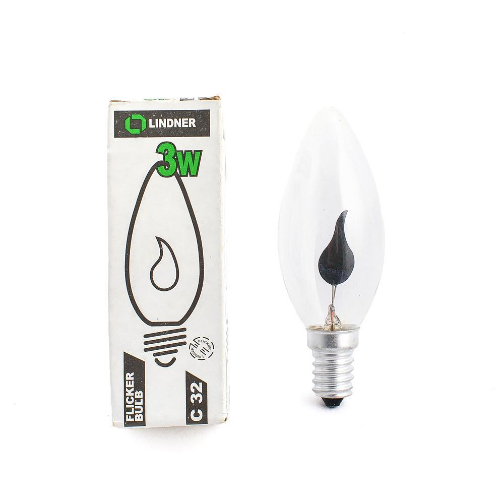 Лампа декоративна LED ЛАМПА LINDNER, 3W, ТЕПЛА СВІТЛО, E14, E14, Теплий (3000K), Свічка
