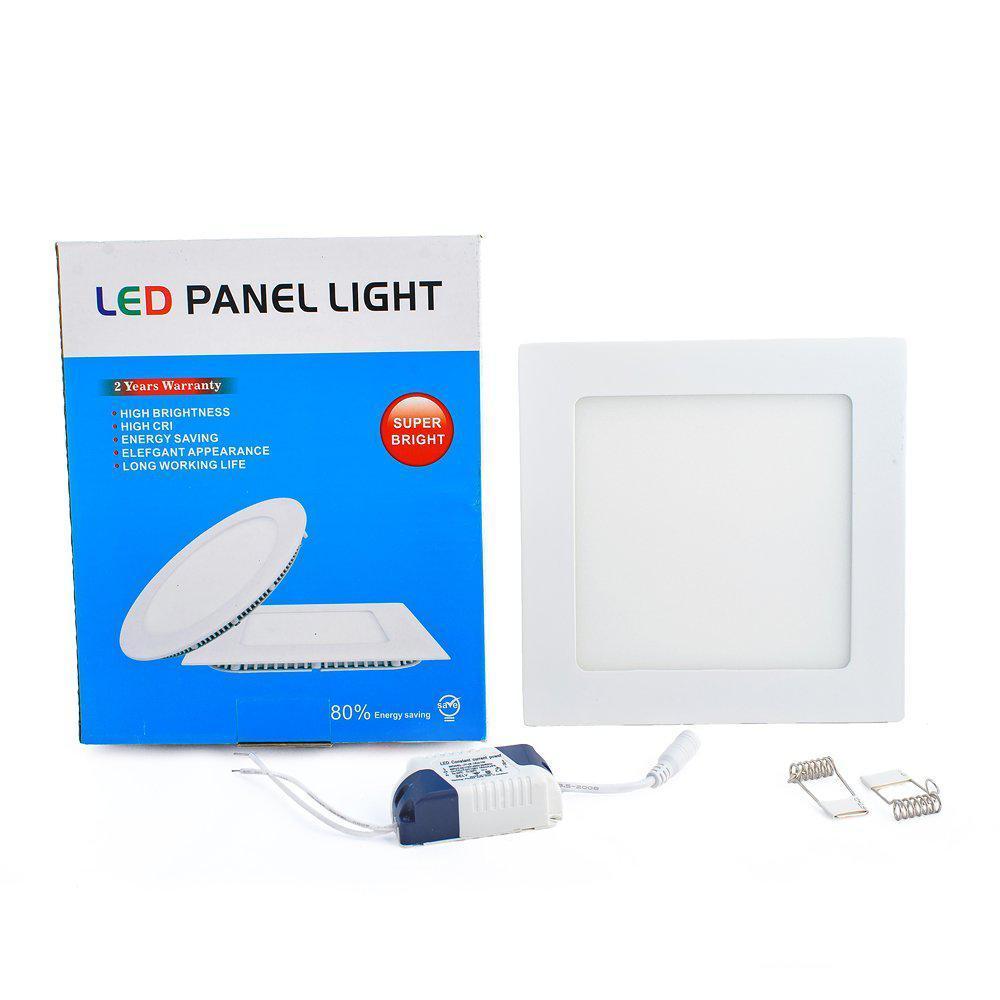 Світлодіодна панель Led або лед, купити енергозберігаючий діодний світильник квадратний 12W, 6500К, 174х174х20 мм, Холодний (6500K)