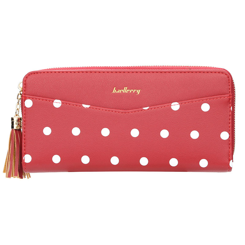 Кошелек, портмоне в горошек женский Baellerry N5520 красный
