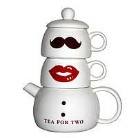 Набір оригінальних чашок і чайник, купити кружки для чаю, кави Youngpig «Містер і Місіс» (294)