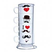 Набір оригінальних чашок, купити кружку для чаю, кави Youngpig «Вуса» 21 см (86)