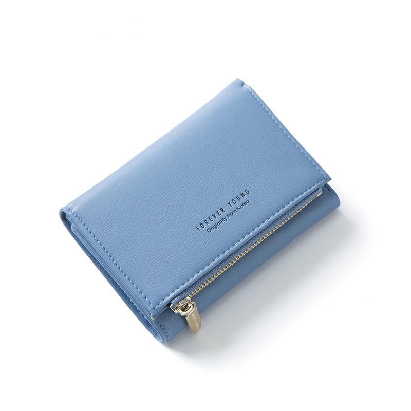Женский Кошелек Бумажник Маленький на Кнопке для Карточек Weichen (LW-762) Голубой