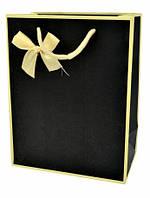 Подарунковий паперовий пакет, оригінальна упаковка для подарунка с бантом, черный