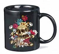 "Оригінальна чашка хамелеон, купити кружку для чаю та кави Youngpig ""Skull & Roses"" (439)"