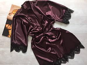 Женский атласный халат шоколад