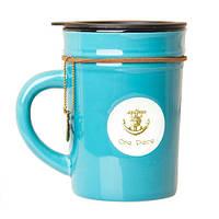 """Оригінальна чашка з кришкою, купити кружку для чаю та кави Youngpig """"Стиль бірюзова"""" (679)"""