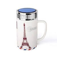 Оригінальна чашка з кришкою, купити кружку для чаю та кави Youngpig «Ейфелева вежа» (2134)