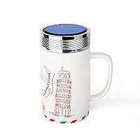 Оригінальна чашка з кришкою, купити кружку для чаю та кави Youngpig «Пізанска вежа» (2133)