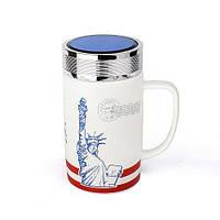 Оригінальна чашка з кришкою, купити кружку для чаю та кави Youngpig «Статуя свободи» (2087)