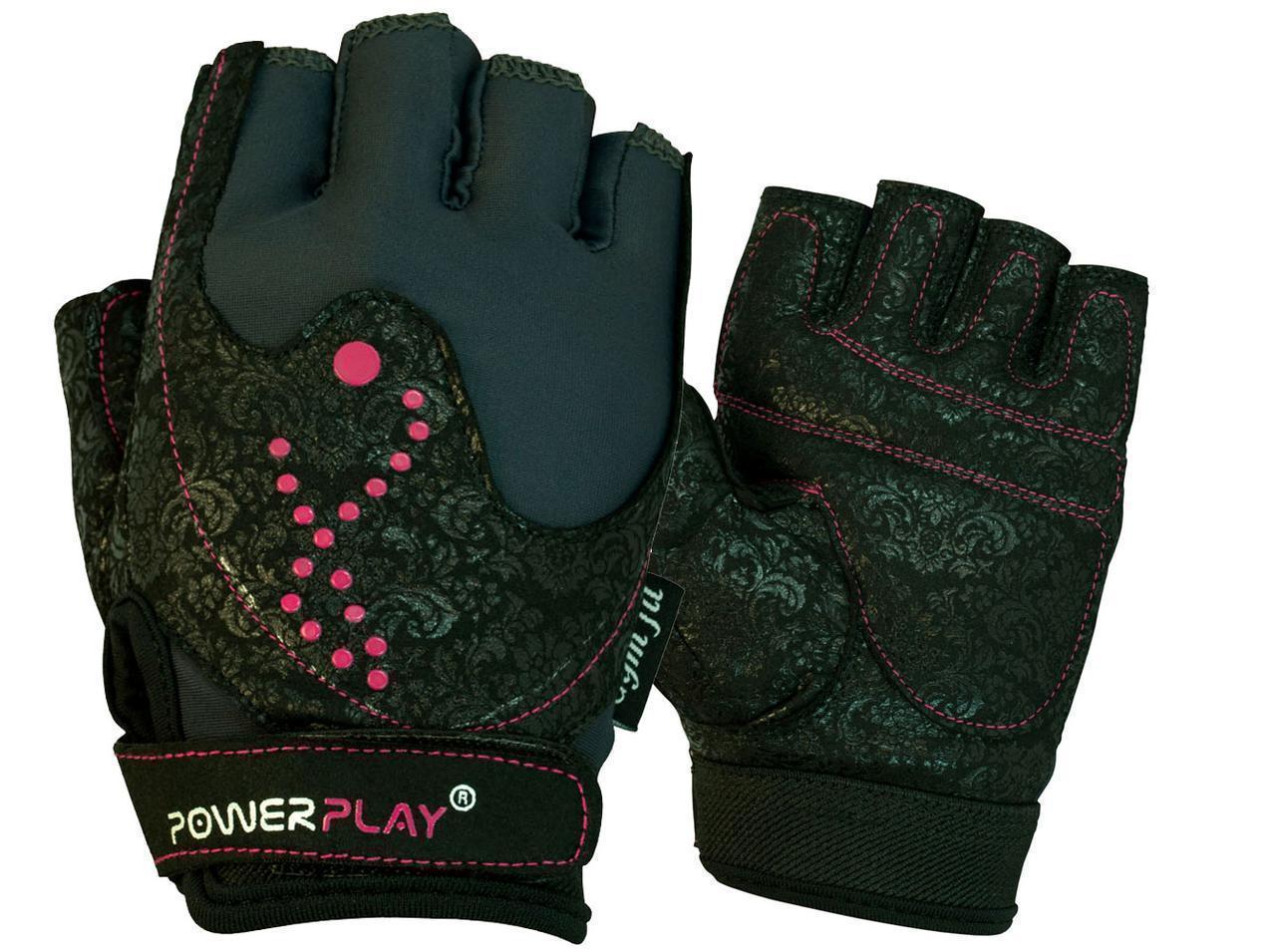 Рукавички для фітнесу PowerPlay 1744 жіночі Чорні M