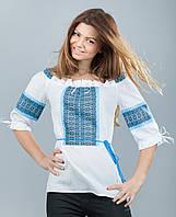 Вышитая сорочка, синий орнамент, фото 1