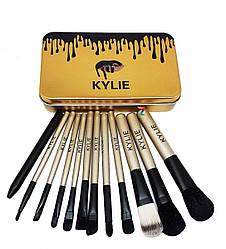 Набор Kylie кисточки большие золото 12 штук - 131537