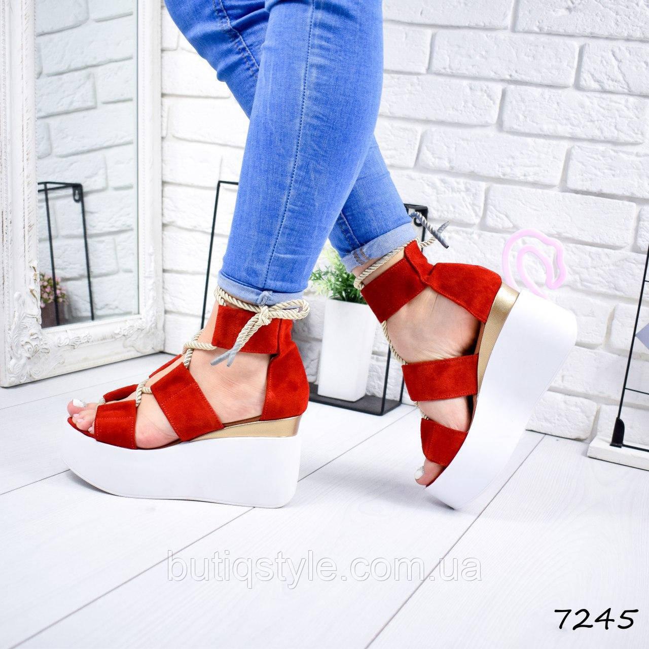 38 размер Женские красные босоножки на шнуровке на белой платформе натуральный замш