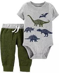 """Набор Carter's """"Динозавр хаки""""  для мальчика боди на короткий рукав + спортивные штанишки картерс"""