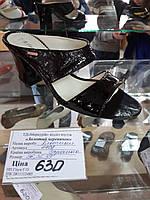 Босоножки лаковая кожа черные на каблуке