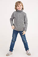 Вязаный свитер под горло с узором коса | Серый/Бежевый. В'ЯЗАНИЙ СВЕТР ПІД ГОРЛО З ВІЗЕРУНКОМ КОСА
